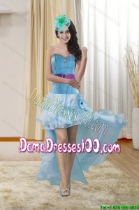 High Low Sweetheart Group Buying Dama Dresses with Ruffles and Beading