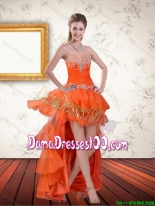 High Low Sweetheart Orange Group Buying Dama Dresses with Ruffles and Beading