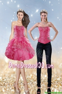 Junior 2015 Strapless Coral Red Dama Dress with Beading and Ruffles
