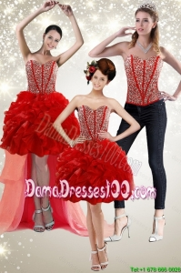 New Style 2015 Red Group Buying Dama Dresses with Beading and Ruffles