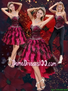 New Style Multi Color High Low Sweetheart Group Buying Dama Dresses with Beading and Ruffles