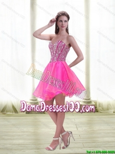 Popular A Line Beading 2015 Summer Dama Dresses For Quinceanera in Hot Pink