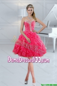 Sweetheart 2015 Cute Group Buying Dama Dresses with Ruffles and Beading