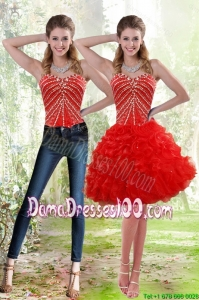 Wonderful 2015 Red Group Buying Dama Dresses with Beading and Ruffles