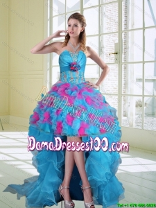2015 Fall High Low Strapless Ruffled Dama Dresses with Hand Made Flower