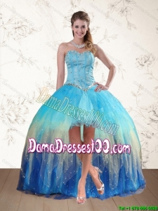 2015 Fall Sweetheart High Low Dama Dresses with Ruffles and Beading