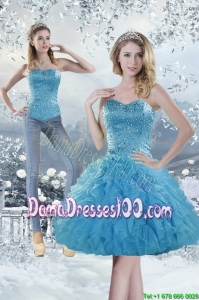 2015 Modest Sweetheart Aqua Blue Group Buying Dama Dresses with Beading and Ruffles