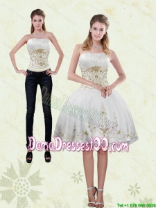 2015 Pretty Strapless Knee Length White Group Buying Dama Dresses with Appliques
