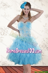 2015 Spring Baby Blue Sweetheart Group Buying Dama Dresses with Embroidery