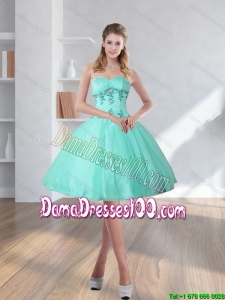 2015 Spring Turquoise Sweetheart Dama Dresses with Embroidery