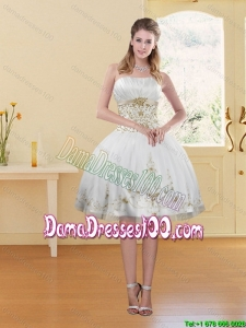 2015 Summer Fashionable White Strapless Dama Dresses For Quinceanera with Embroidery