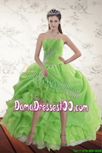 2015 Summer Spring Green High Low Dama Dresses For Quinceanera with Ruffles and Beading