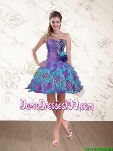 2015 Summer Sweetheart Beaded Multi Color Dama Dresses with Hand Made Flower