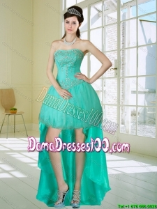 Apple Green Strapess High Low Dama Dresses with Embroidery and Beading