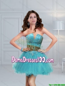 Aqua Blue Beaded Leopard Printed Perfect Dama Dresses For Quinceanera for 2015 Summer