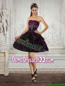 Ball Gown Strapless Multi Color Dama Dresses with Ruffles and Embroidery 2015 Summer