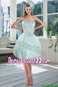 Beautiful Light Blue Sweetheart Short Group Buying Dama Dresses with Beading