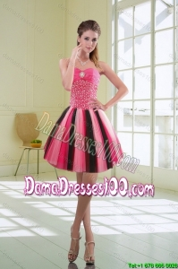 Beautiful Multi Color Beaded Sweetheart Group Buying Dama Dresses with Ruffles