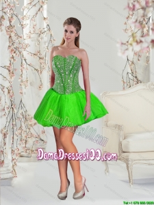 Detachable Beading and Ruffles Dama Dresses in Spring Green for 2015