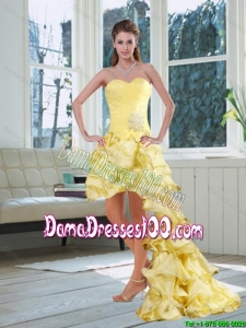 Light Yellow Sweetheart High Low Dama Dress with Beading and Ruffled Layers