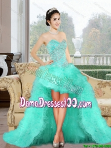 Luxurious 2015 SummerHigh Low Dama Dress with Appliques and Ruffles