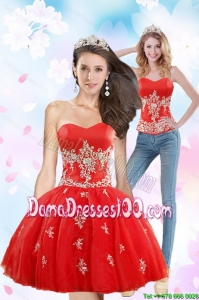 Luxurious 2015 Sweetheart Appliques Group Buying Dama Dresses in Red