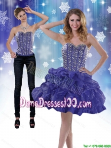 Modest 2015 Sweetheart Royal Blue Group Buying Dama Dresses with Beading and Ruffles