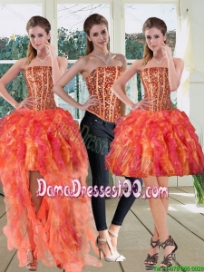 Modest Strapless Multi Color 2015 Dama Dresses with Beading and Ruffles