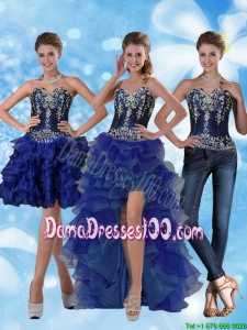 Most Popular Sweetheart Dama Dresses with Ruffled Layers and Embroidery