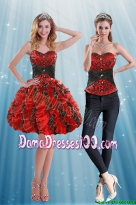 Multi Color Sweetheart Group Buying Dama Dresses with Appliques and Ruffles
