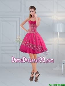 Perfect Sweetheart Hot Pink Dama Dresses with Embroidery and Beading 2015 Summer