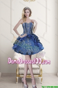 Popular Sweetheart Blue Embroidery and Beading Group Buying Dama Dresses for 2015