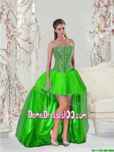 Wholesales High Low Beading Dama Dresses in Spring Green for 2015