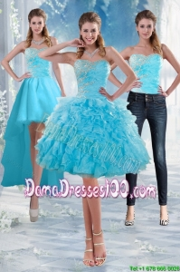2015 Delicate Sweetheart Baby Blue Dama Gown with Appliques and Ruffles