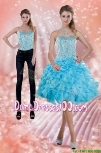 2015 Fitting Baby Blue Dama Dress with Beading and Ruffles