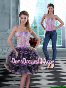 2015 Luxurious Strapless Dama Dress with Appliques and Ruffles