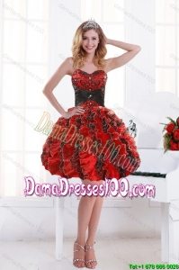 2015 Unique Sweetheart Beading and Ruffles Dama Dresses with Appliques