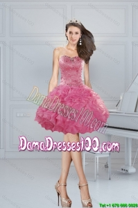 Gorgeous Ball Gown Pink Sweetheart Beading Dama Dresses
