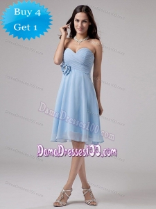 Light Blue Quinceanera Damas Dresses with Hand Made Flower and Ruche