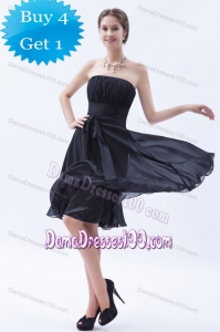 Low Price Sash Strapless Ruched Knee-length Chiffon Dama Dress