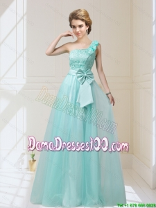 2015 One Shoulder Dama Dresses with Hand Made Flowers and Bowknot