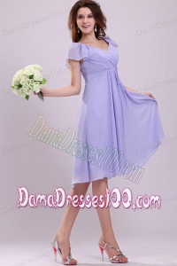 2014 Affordable Empire Cap Sleeves Lavender Ruching Dama Dress
