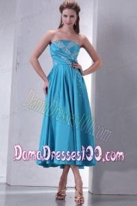 2014 Cheap Teal Empire Strapless Tea-length Dama Dress with Beading