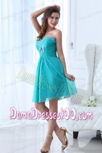 2014 Most Popular Aqua Blue Sweetheart Knee-length Dama Dress with Beading