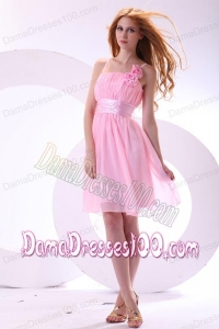 2014 Pretty A-line Straps Pink High-low Chiffon Ruching Dama Dress