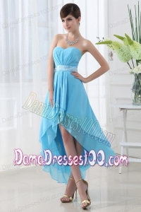 A-line High-low Sweatheart Baby Blue Dama Dress with Belt