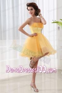 A-line Strapless Organza Gold Mini-length Dama Dress with Ruching