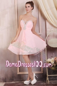 Baby Pink Empire Sweetheart Short Dama Dress with Beading