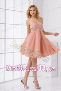Cute A-line Sweetheart Beading Mini-length Chiffon Dama Dress