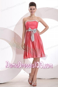 Fabulous Empire Sashes Pleats Strapless Watermelon Red Dama Dress